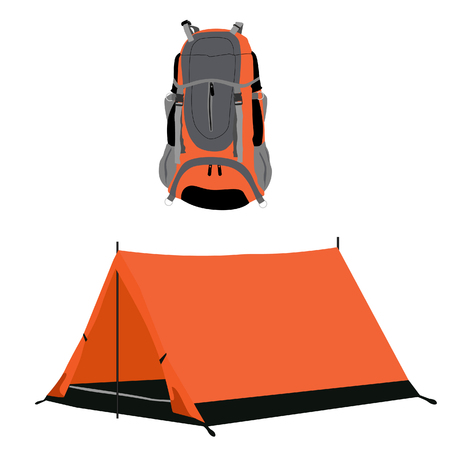 travelers: Orange camping tent and travel backpack raster set isolated, travelers stuff, equipment