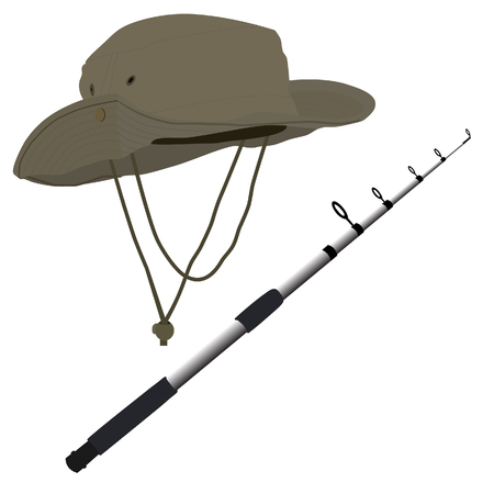 Fishing pole: Fishing pole and hat raster isolated on white background, fishing equipment Stock Photo