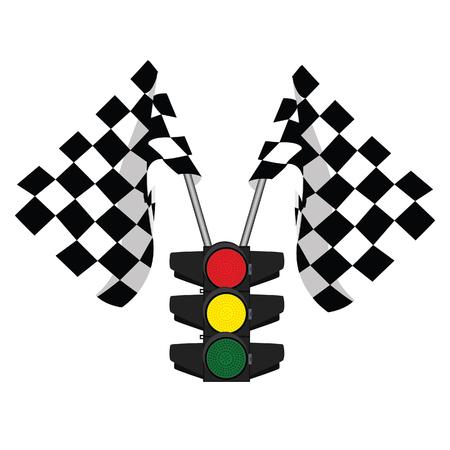 traffic lights: Traffic lights, finish flag, start flag, racing flag