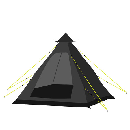 raster illustration: Black camping tent raster illustration. Tipi tent. Camping equipment