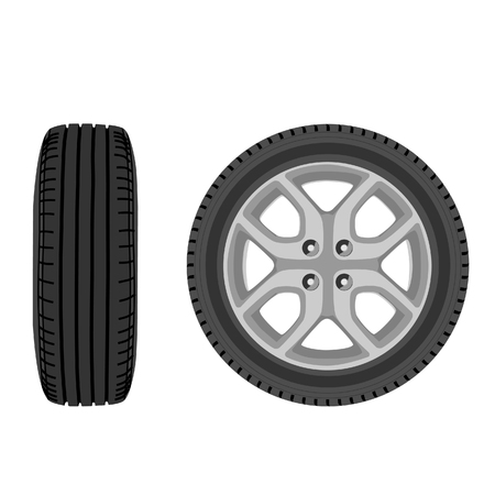 ring road: raster illustration of car wheel front and side view. Transport wheel. Car tire