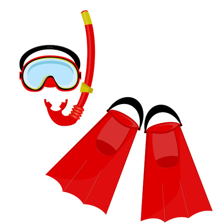 footware: Red diving maks, diving tube, swimming equipment, flippers Stock Photo