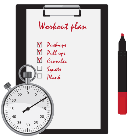 crunches: Workout plan with checkboxes on clipboard, red marker pen and stopwatch counter. Push ups, pull ups, crunches, squats, plank Stock Photo