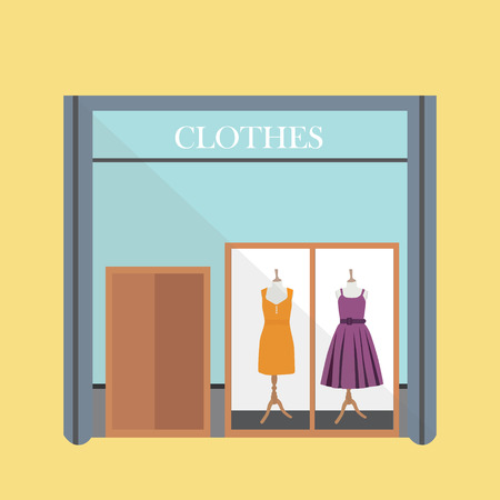 vitrine: Clothing store. Woman clothes shop and boutique. Flat style raster illustration. Two summer dresses purple and orange on mannequin in showcase Stock Photo
