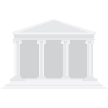 ancient roman: raster illustration ancient temple. Tribunal symbol. Bank building icon. Law building. Courthouse