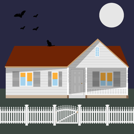 cottage fence: Cottage house, white wooden fence and gate, flying birds, black cat, night sky with moon and grass background Stock Photo