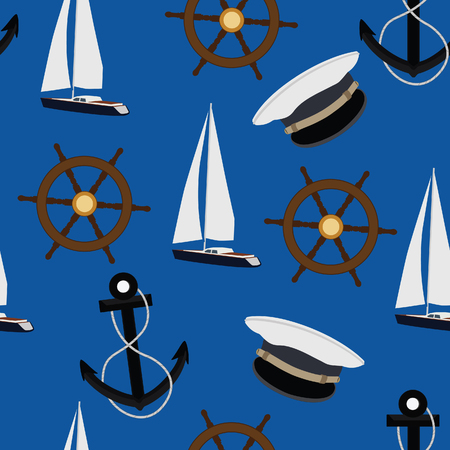 luxury yacht: Seamless pattern navy with luxury yacht, steering wheel, anchor and captain hat on blue background raster illustration