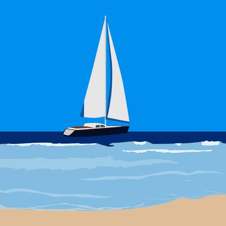 sailing yacht: raster illustration of luxury sailing yacht. Summer card for sailing yacht race