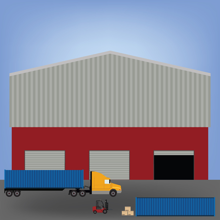 warehouse interior: raster illustration of factory or warehouse for cargo delivery with three doors. Storage building. Cargo truck, car loader and carton boxes. Warehouse interior