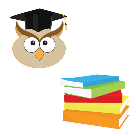 erudition: raster illustration of cartoon wise owl in graduation hat and stack of books. Symbol of knowledge and wisdom. Owl and pile of books icon set