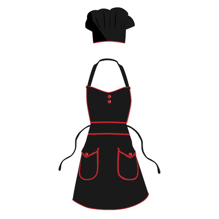 protective apron: Black and red kitchen, protective apron and chef hat raster set
