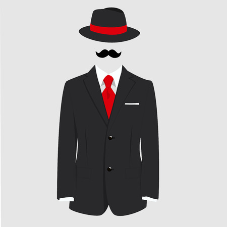 fedora: raster illustration english gentleman concept. Fedora hat, black mustache and man suit with red tie on grey background