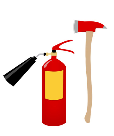 chemical weapon symbol: Fire axe and extinguisher safety