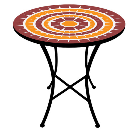 round table: Vintage, outdoor round table raster isolated, cafeteria table