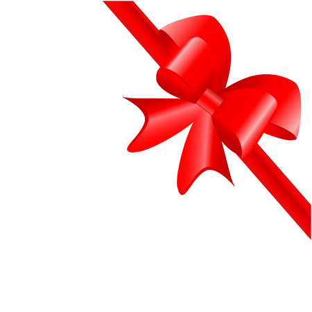 red bow: Red bow raster decoration isolated on white