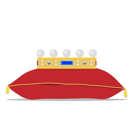 queen bed: raster illustration golden crown on the red pillow. Royal crown on velvet pillow Stock Photo