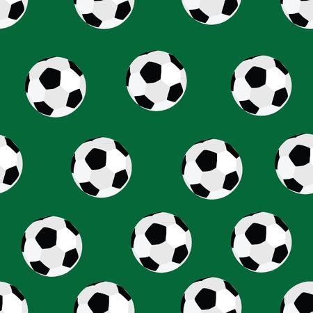 soccer background: pattern football soccer ball on green background raster illustration. Soccer ball background