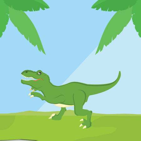 tyrannosaurs: Vector illustration of a mean tyrannosaurs rex t rex dinosaur. Dino. Cute cartoon green dinosaur