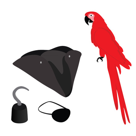 eye patch: Pirate vector icon set with pirate hook, pirate hat, pirate eye patch and red macaw parrot.