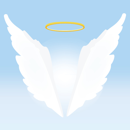 nimbus: Vector illustration of angel wings and golden holy nimbus on light blue background