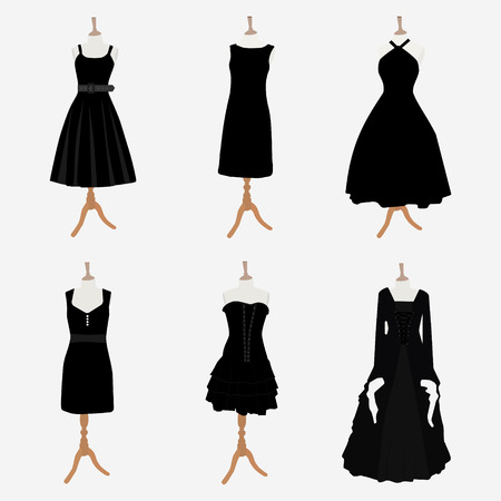 little black dress: Vector illustration set of six black different design elegant cocktail and evening woman dresses on mannequin for boutique. Little black dress fashion