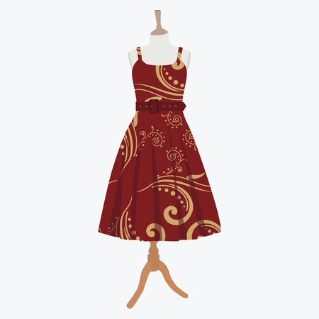 bordo: Vector illustration elegant cocktail, evening woman dresses on mannequin for boutique. Red, bordo dress with seamless pattern