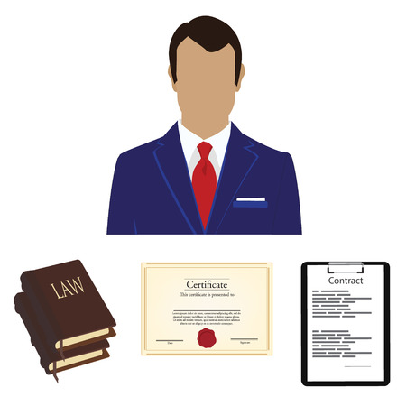 law book: Vector illustration lawyer consulting service concept. Lawyer, law book, certificate and contract on black clipboard