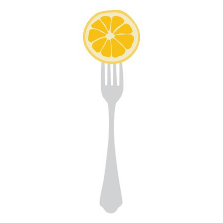 healthy meal: Vector illustration concept for diet. Orange slice on fork. Healthy meal for weight dump Illustration