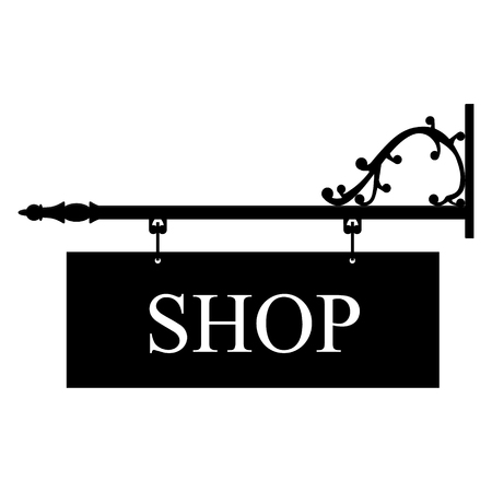 retailer: Vector illustration vintage, old shop sign. Signage shop sign route hanging information banner retailer.