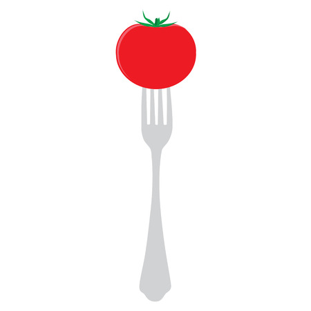 healthy meal: Vector illustration concept for diet. Red tomato on fork. Healthy meal for weight dump