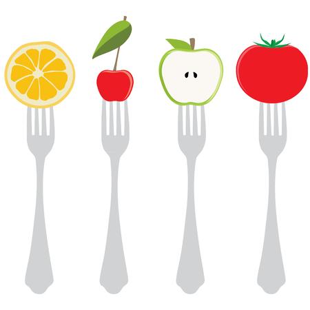 tomate cherry: ilustración vectorial variedad de alimentos en las horquillas. La mitad de manzana verde, cereza, tomate y naranja