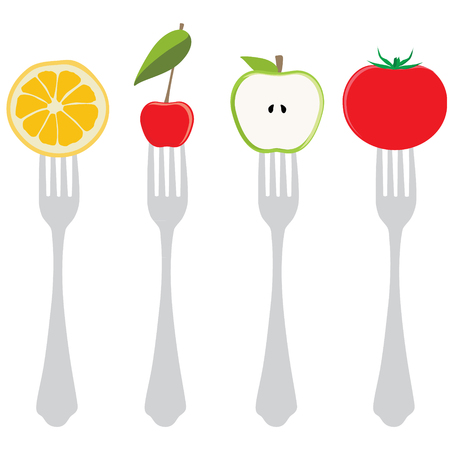 cherry tomato: Vector illustration variety of food on forks. Half of green apple, cherry, tomato and orange