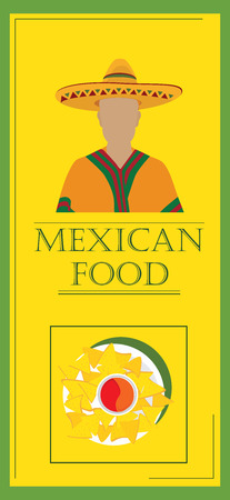 chips and salsa: Vector illustration mexican food poster for restaurant. Mexican traditional food cafe restaurant and bar banner. Mexican menu template Illustration