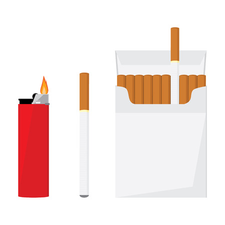 cigarette pack: Opened cigarette pack with cigarettes, cigarette and red pocket lighter with fire vector illustration. Cigarette box. Cigarette packet.