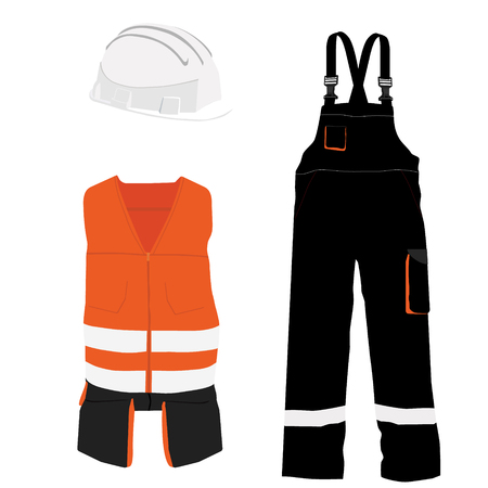 safety equipment: Orange safety clothing vector icon set with safety vest, pants and  hardhat helmet. Safety equipment. Protective workwear