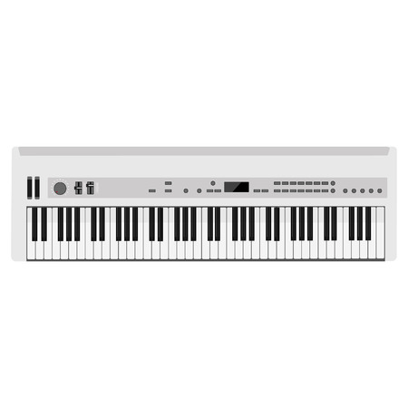 synthesizer: Vector illustration of musical instrument white synthesizer. Piano keys Illustration