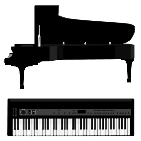 forte: Vector illustration grand black realistic piano and black synthesizer. Piano keys . Forte piano. Musical instrument