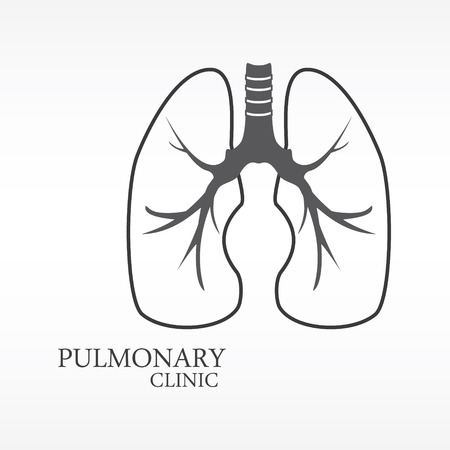 pulmonary: Vector illustration of human lungs. Lungs icon, logo for pulmonary clinic