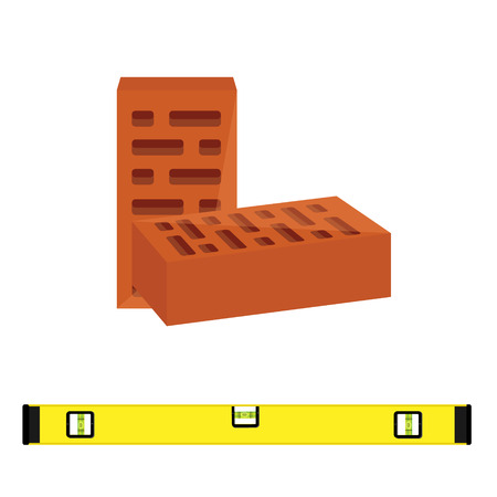 stone mason: Vector illustration two red brick block for building and level construction for measuring. Masonry equipment