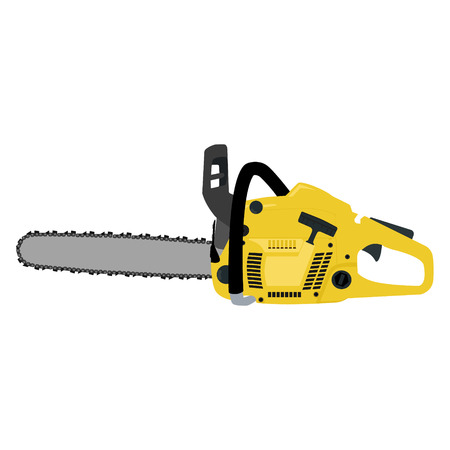 chain saw: Vector illustration yellow realistic chainsaw. Petrol chain saw. Professional instrument, working tool. Chainsaw icon