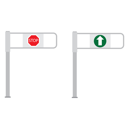 go to store: Vector illustration set of shop entrance gate with green arrow and red stop sign. Turnstile. Supermarket go and stop barrier