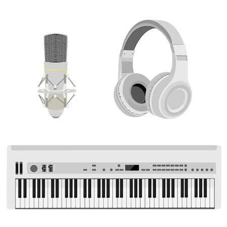 synthesizer: Vector illustration realistic white headphones, synthesizer and vintage microphone. Retro microphone isolated on white. Microphone and stereo headphones icon