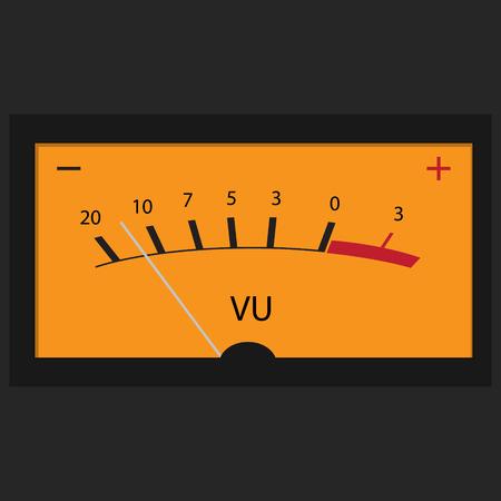 hi fi: Vector illustration of analog electronic VU meter.