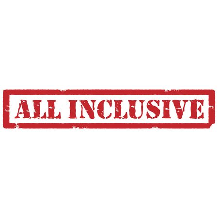 inclusive: Vector illustration red grunge rubber stamp with text all inclusive