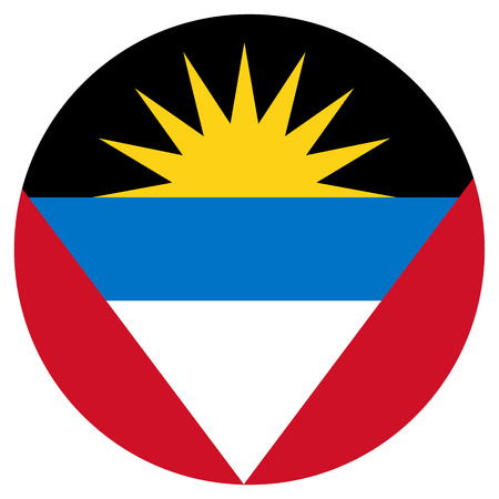 antigua: Vector illustration Antigua and Barbuda flag vector icon. Round national flag of  Antigua and Barbuda.  Antigua and Barbuda flag button