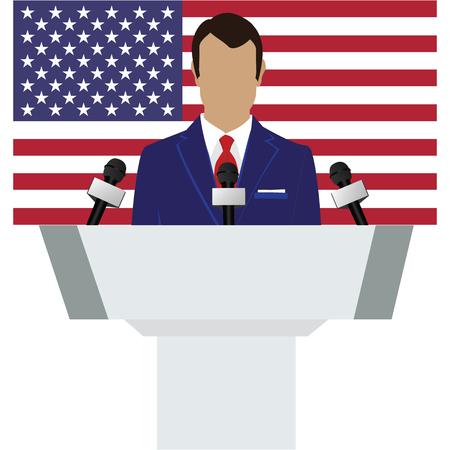 lectern: Vector illustration presentation conference concept. Speaker, man in suit speaking from tribune. USA, american flag on background