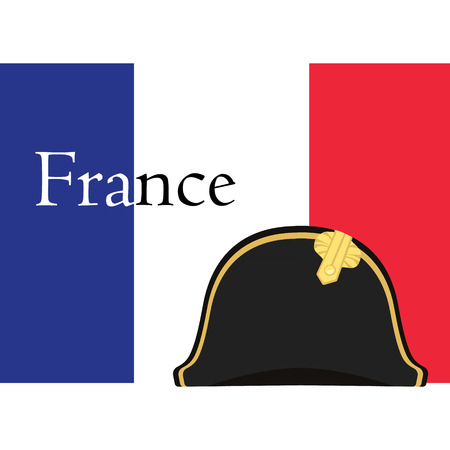 napoleon: Vector illustration flag of France with text france and black Napoleon Bonaparte hat. General bicorne hat. France symbol Illustration
