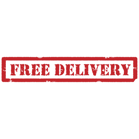 free delivery: Vector illustration red grunge rubber stamp with text free delivery Illustration