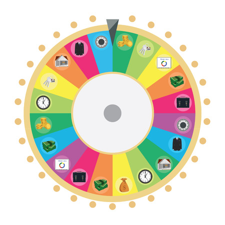 wheel of fortune: Vector illustration wheel of fortune infographic design element. Lucky spin icon