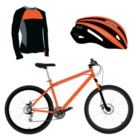 sports uniform: Orange bicycle, helmet and shirt vector icon set. Sport equipment. Sports uniform or biking clothes